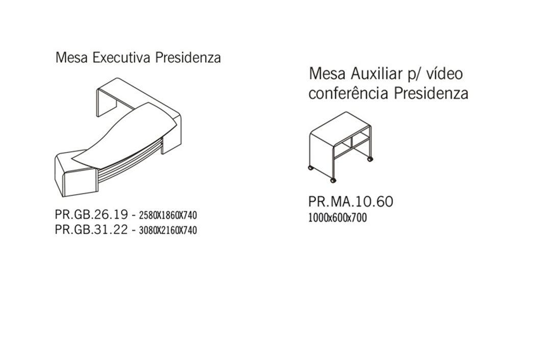 Mesas principal e auxiliar Presidenza
