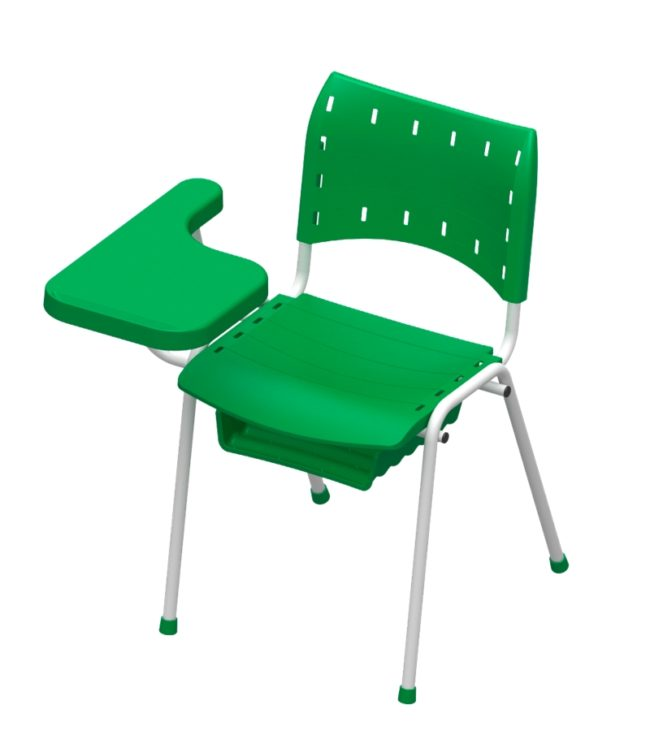 cadeira compact 4 pés com porta caderno e prancheta