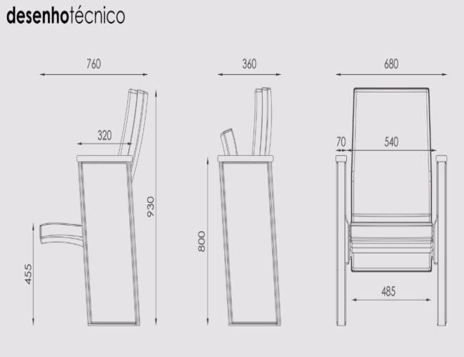 desenho tecnico poltrona Torres Turim