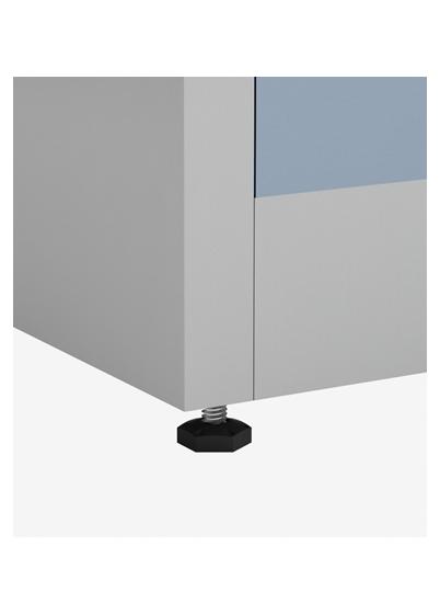 armário de aço, detalhe do pé regulavel