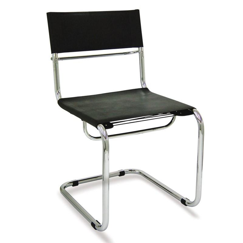 cadeira fixa tubular em couro natural, sem braços