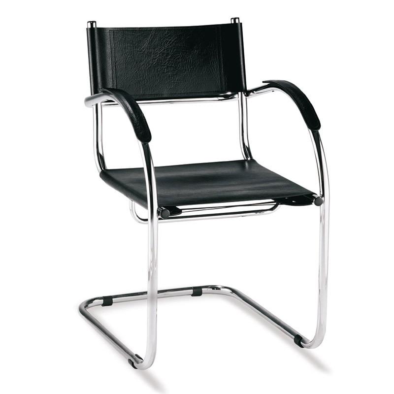 cadeira fixa tubular em couro natural