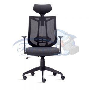 Cadeira Presidente Torres Aika com encosto de cabeça, base giratória e braço regulável
