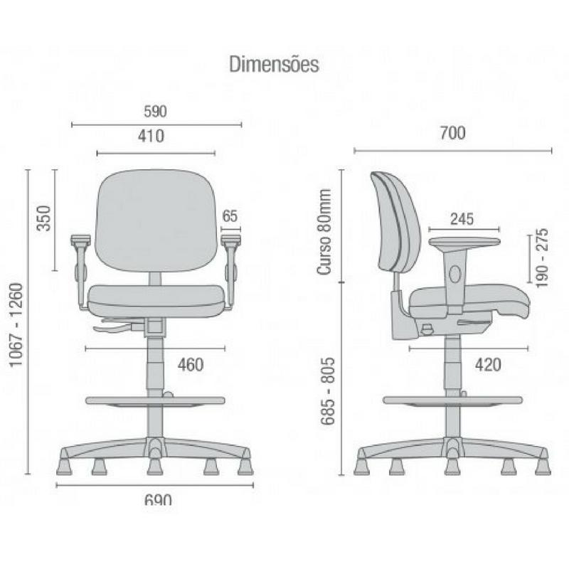 Medidas de cadeira Start base caixa com braços