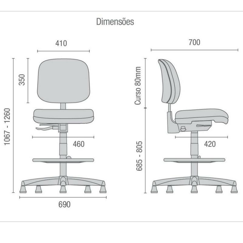 Medidas de cadeira Start base caixa sem braços