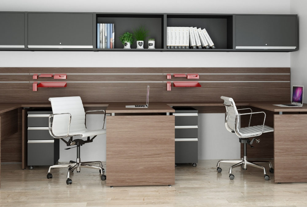 ambiente móveis linha wood - estação de trabalho para escritórios