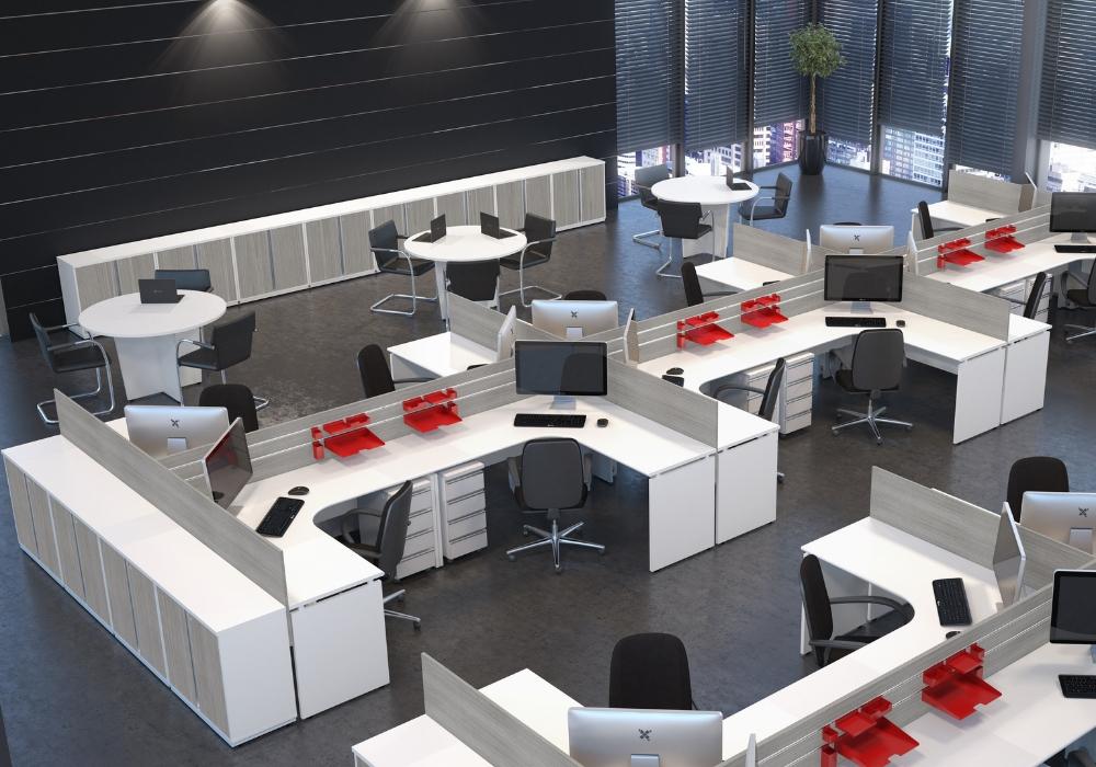 Imagem de ambiente corporativo linha wood estação de trabalho