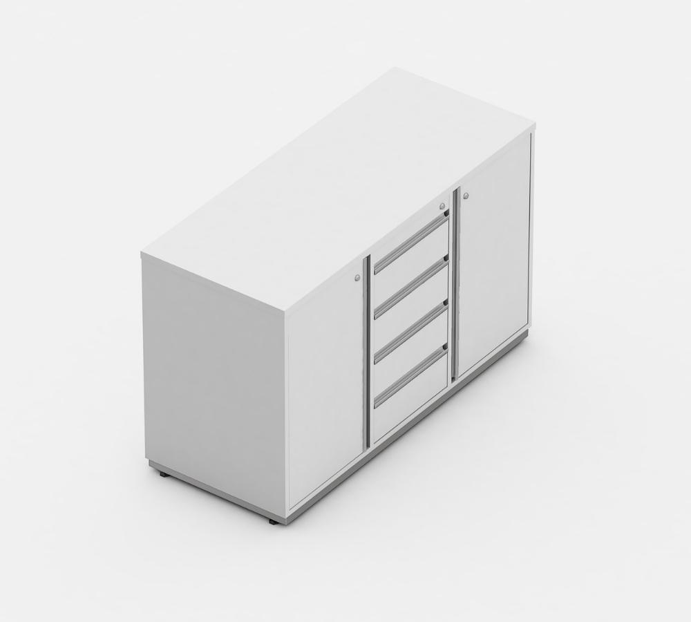 armario presidente 04 gavetas e 2 portas linha wood - móveis para escritório