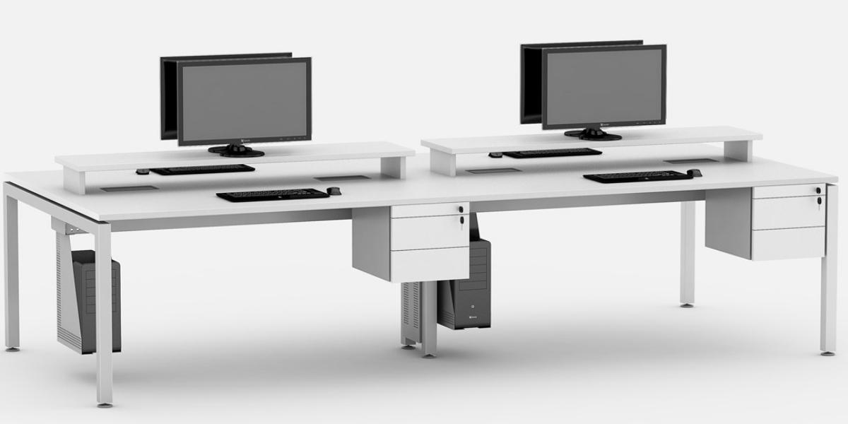 Plataforma de trabalho linear com sobretampo para apoio de monitor