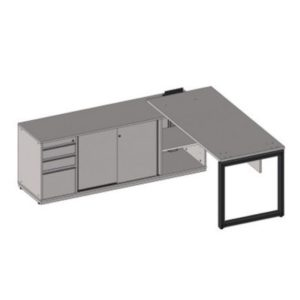 Mesa reta com armario para passagem de fios e suporte para tomadas