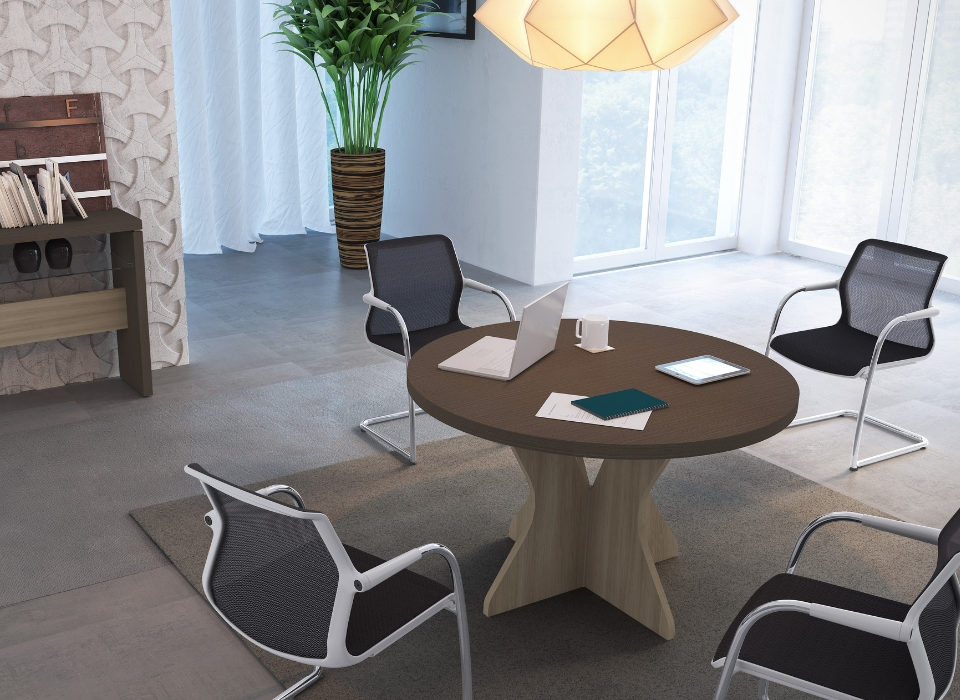 Mesa de reunião redonda, tampo em tamburato