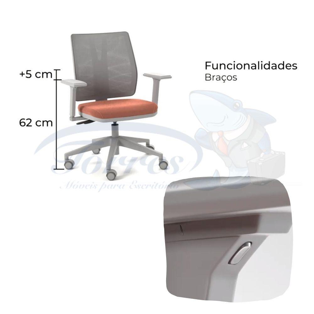 cadeira Torres Addit encosto tela - detalhe braço