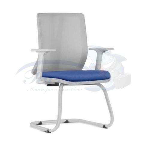cadeira Torres Addit encosto tela base fixa cinza