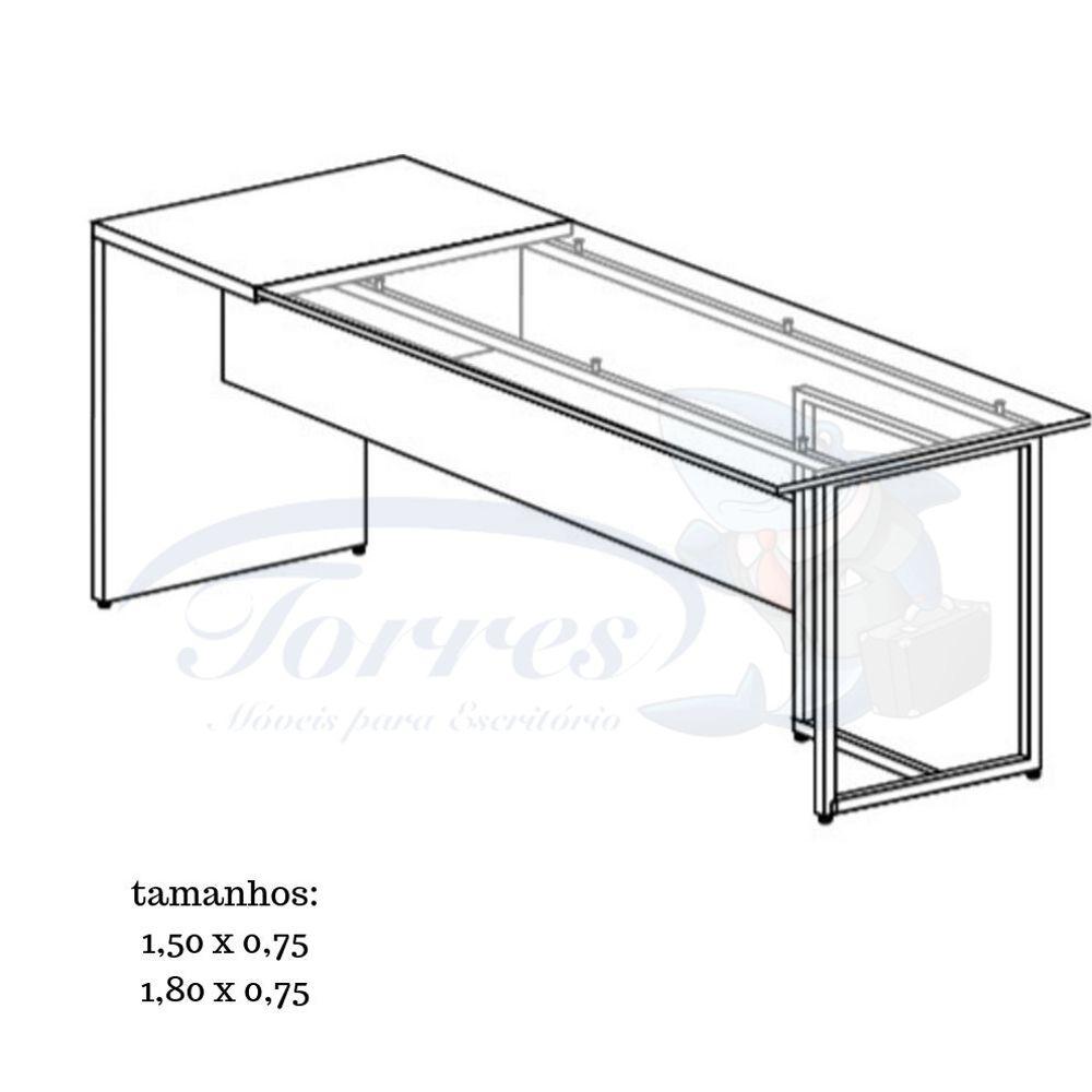 Mesa reta de madeira e vidro Torres Beton 1001
