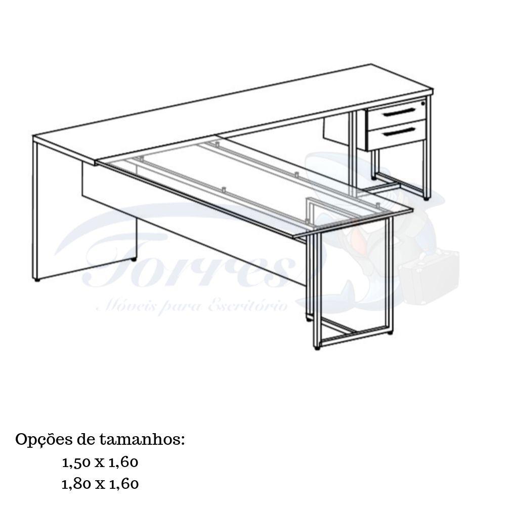 Mesa em L de madeira e vidro Torres Beton 1001
