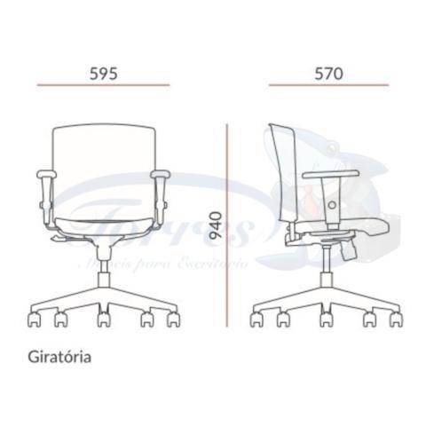 Medidas cadeira Torres Versatile Giratória