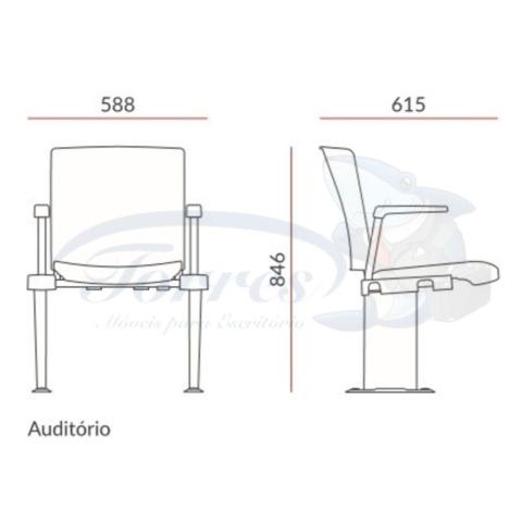 Medidas cadeira Torres Versatile auditório