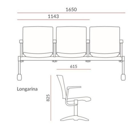 medidas longarina Torres Versatile 3 lugares