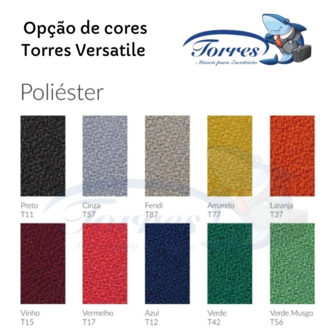 opção de cores em poliéster para cadeiras torres versatile