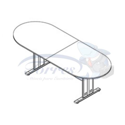 Mesa de reunião oval Torres Jade Tampo bipartido oval pé em aço