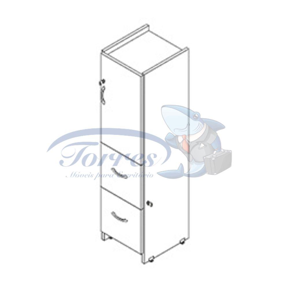 Armário alto com 2 gavetas para pastas e 1 porta
