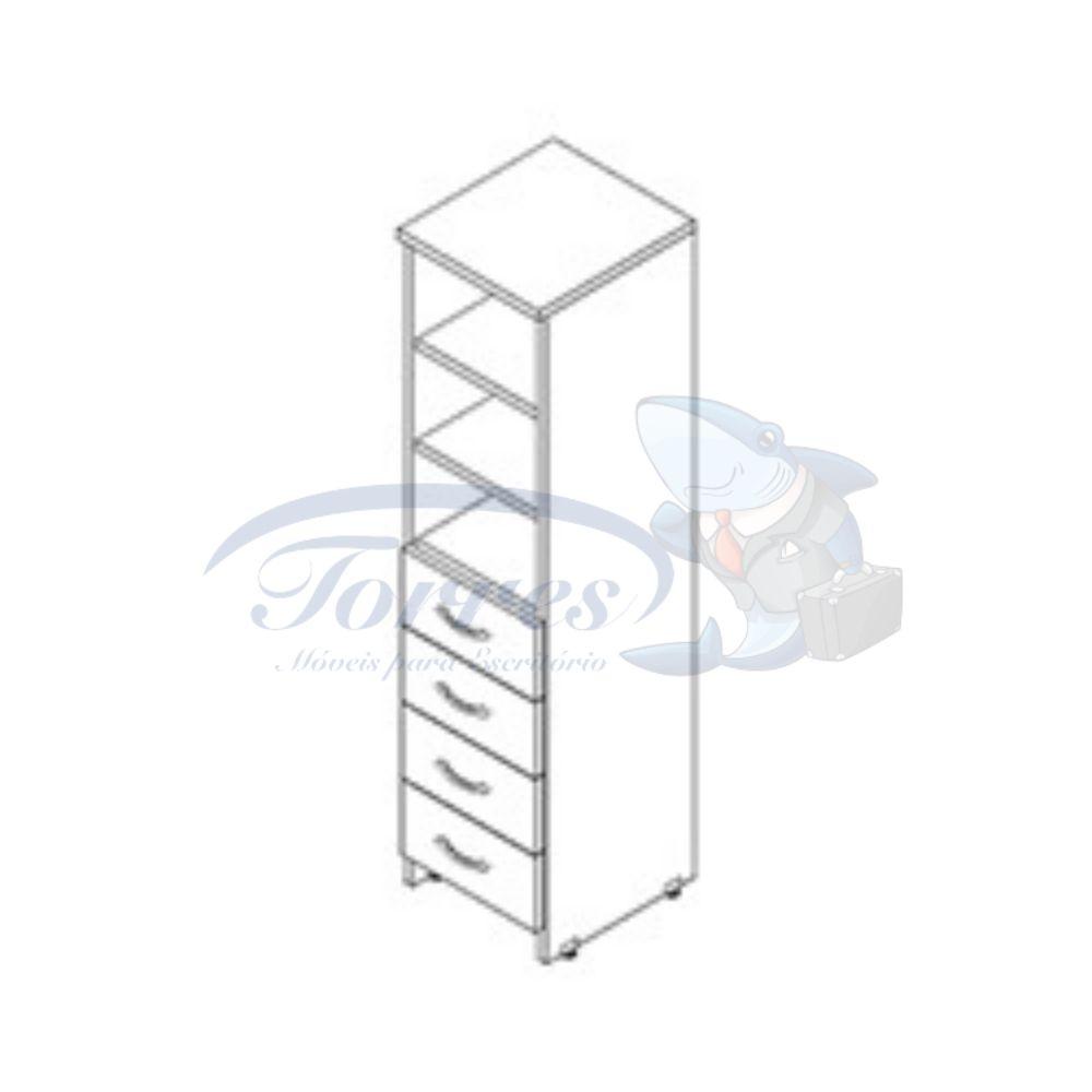 amario alto 1 porta com gavetas e prateleiras