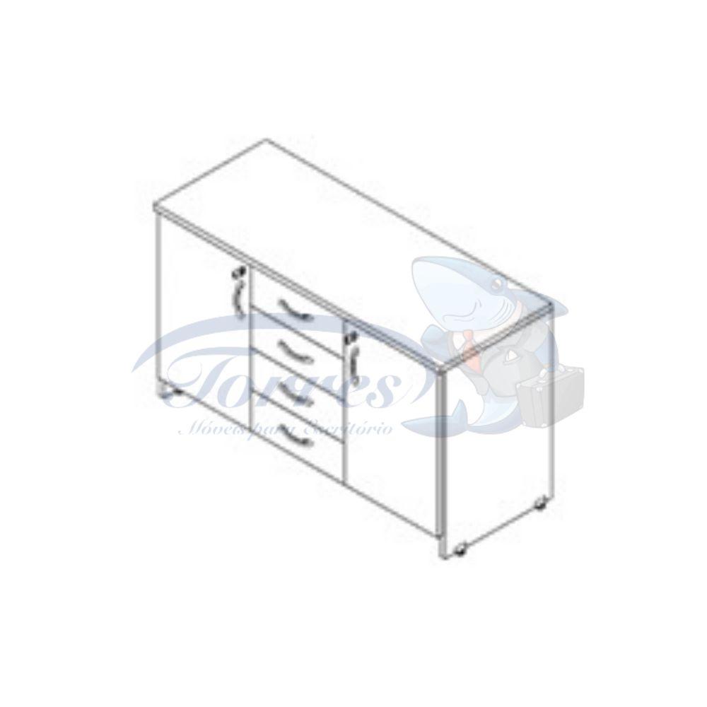 armário baixo com 2 portas e 4 gavetas