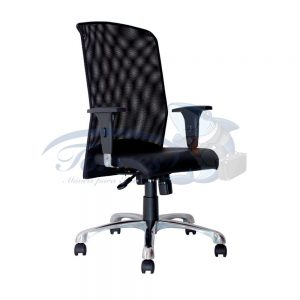 Cadeira Presidente Torres Aisha base giratória e braço regulável