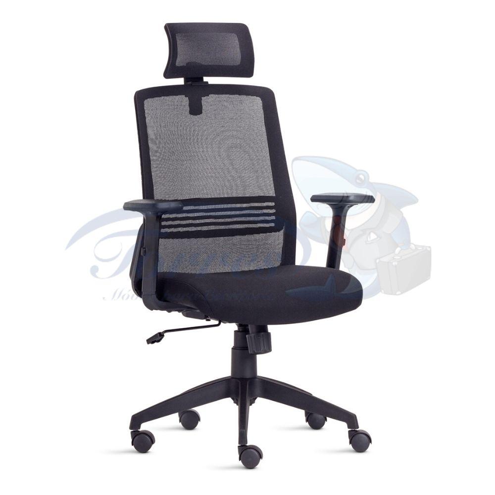 Cadeira Presidente Torres Joy com encosto de cabeça, base giratória e braço regulável