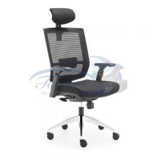 Cadeira Torres Monza com encosto de cabeça e base giratória cromada, braço regulável