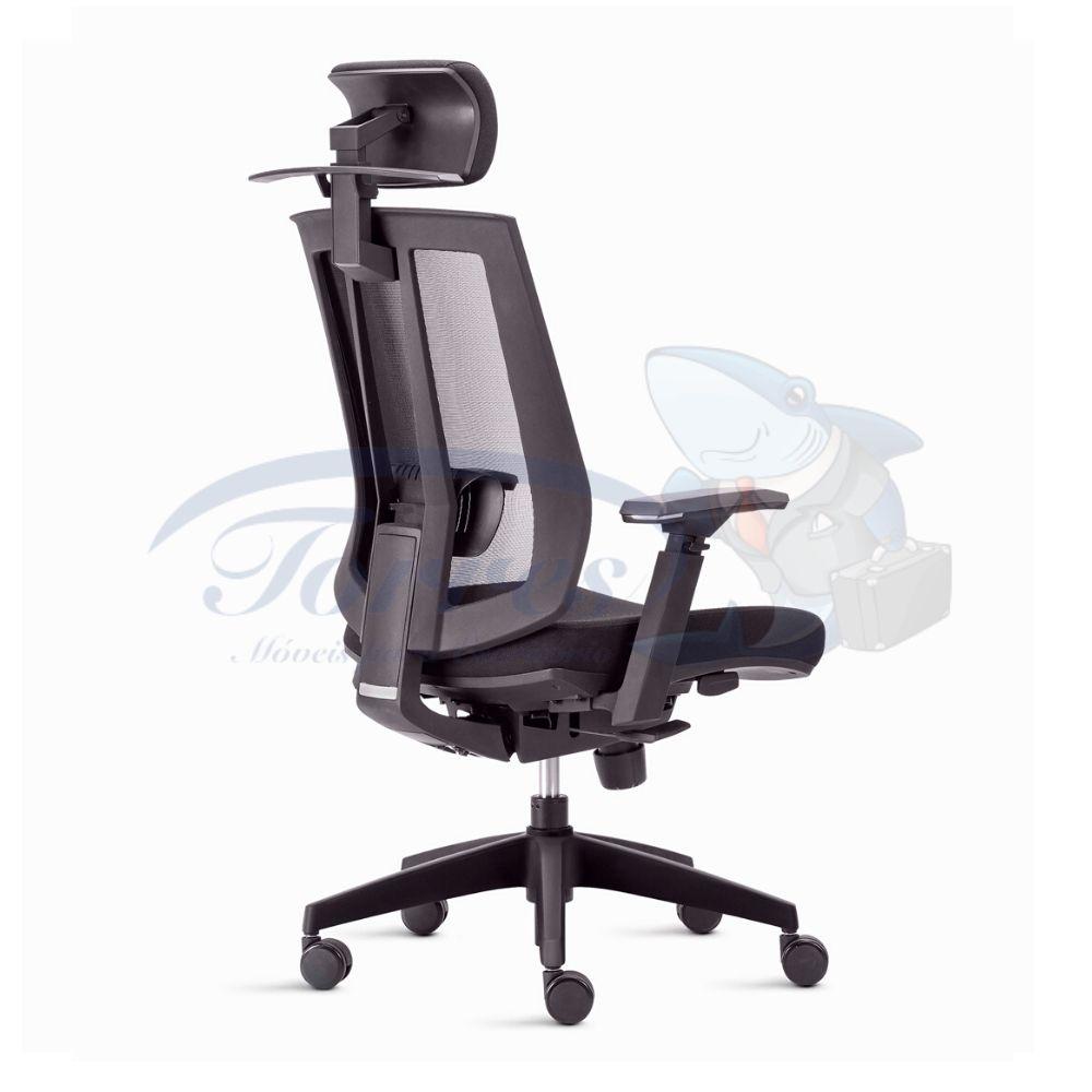 Cadeira Presidente Torres Song com encosto de cabeça, base giratória e braço regulável
