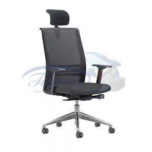 Cadeira Presidente Torres Agile com apoio de cabeça, base giratória cromada e braço regulável
