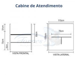 Medidas Cabine de atendimento Torres Jade completa