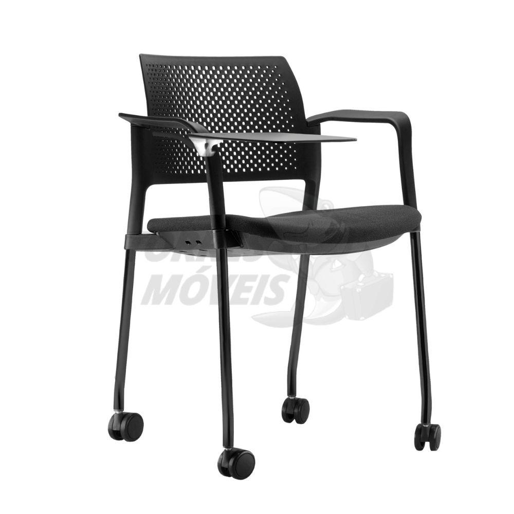cadeira Kyos com prancheta 4 pés com rodízios