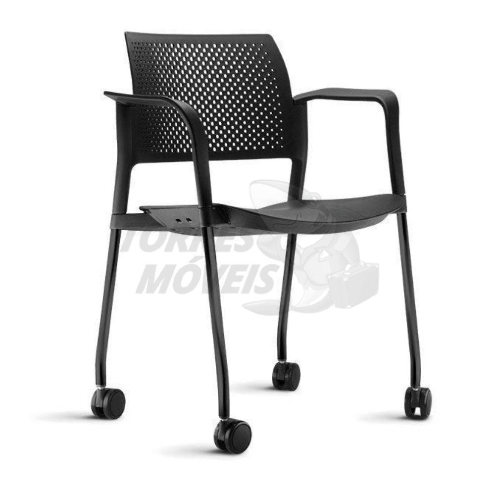 Cadeira Torres Kyos 4 pés com rodízios e braço