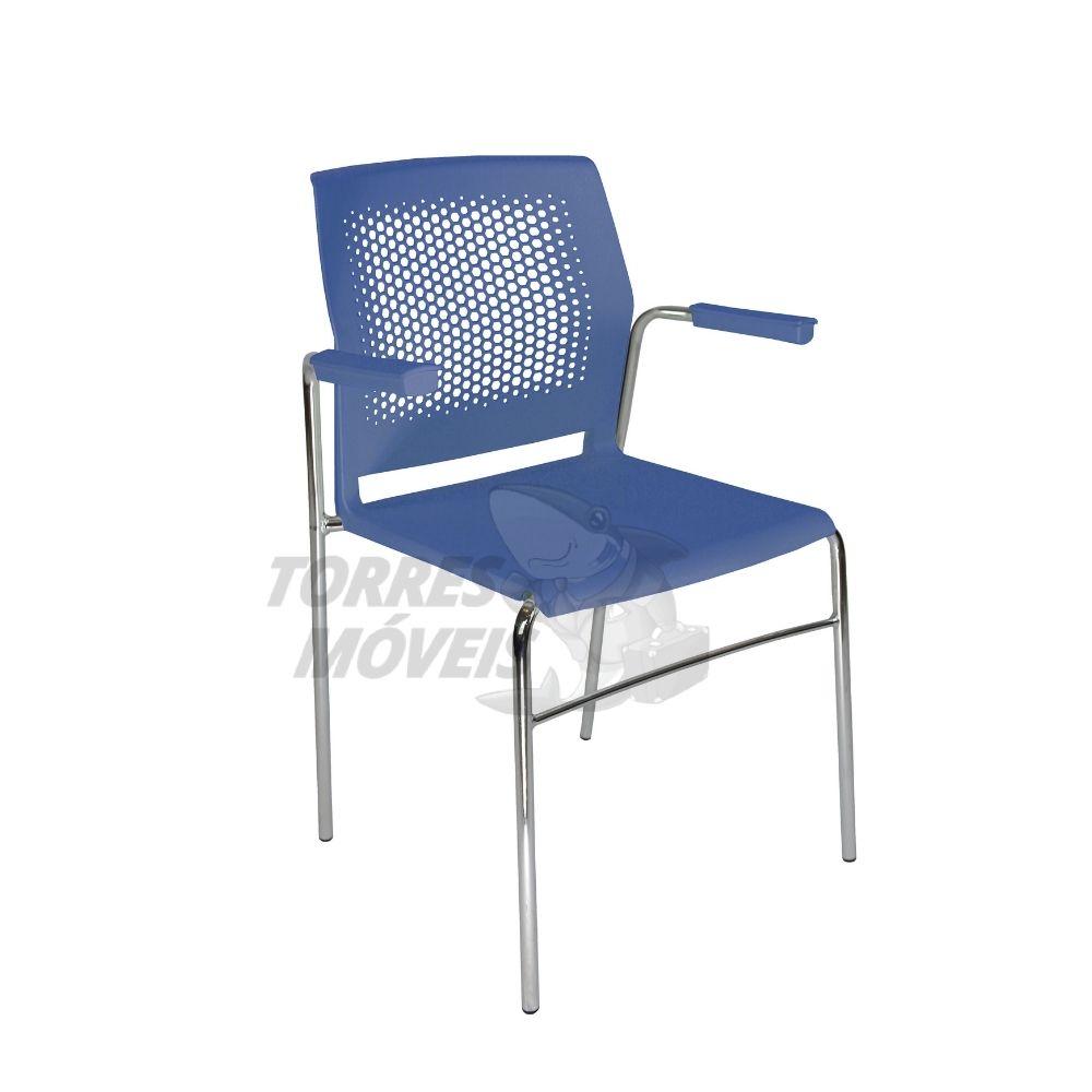 Cadeira Axel estrutura 4 pés encosto perfurado com braço