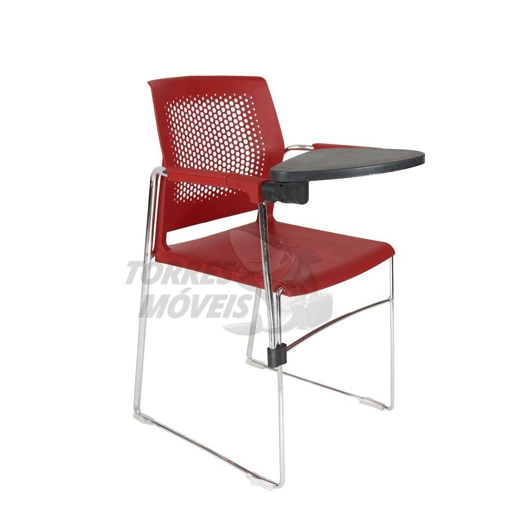Cadeira Axel estrutura trapezoidal encosto perfurado com braço e prancheta