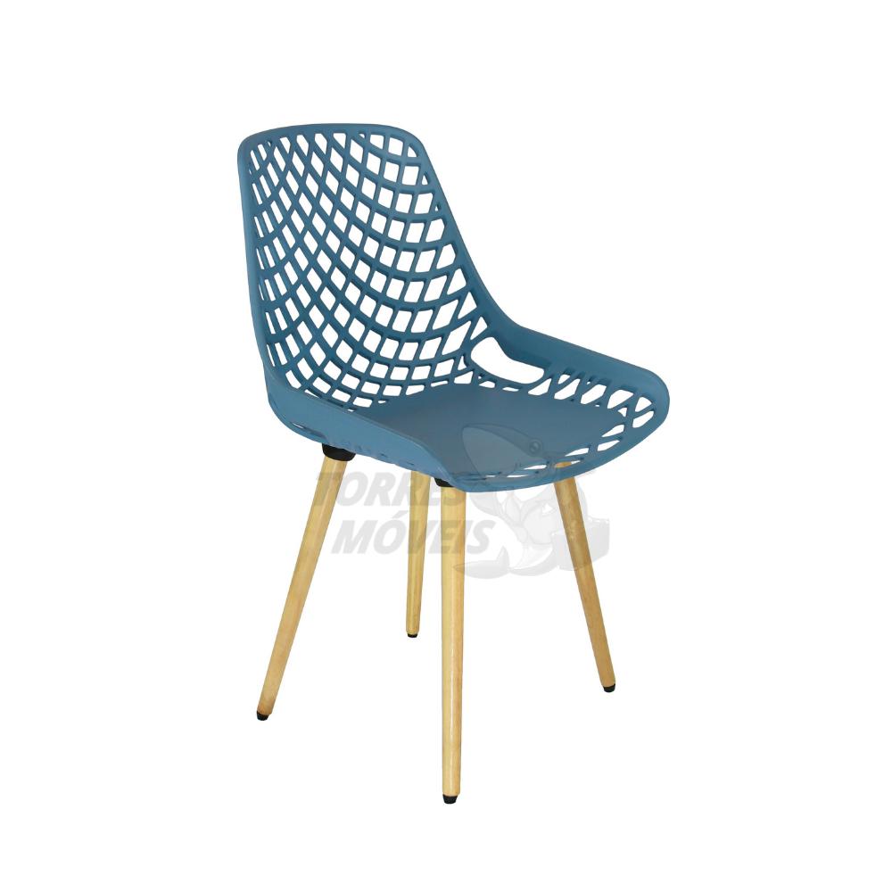 Cadeira ella base madeira