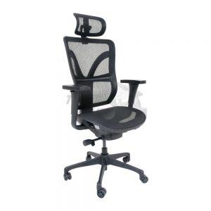 Cadeira Presidente com encosto de cabeça, encosto em tela, base giratória