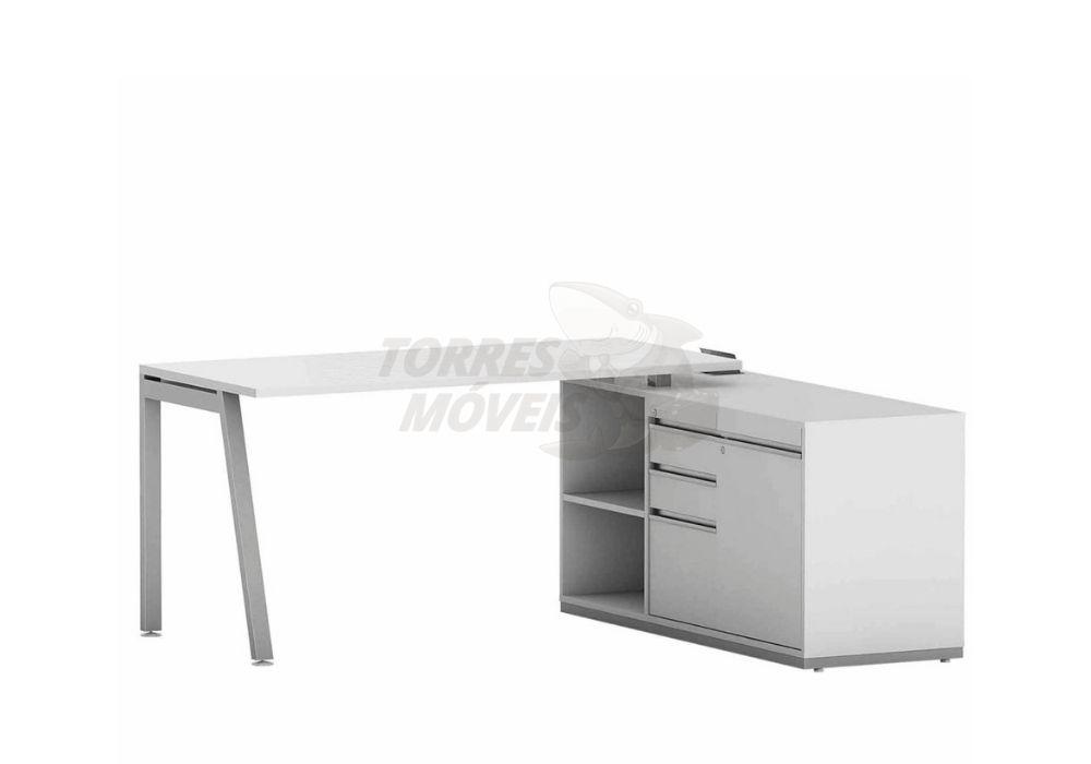 Mesa reta com armário auxiliar, gavetas, 1 porta e nicho - Torres Laus
