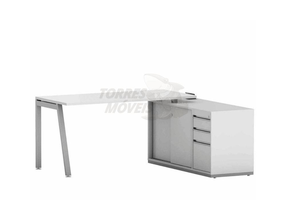 Mesa reta com armário auxiliar, gavetas e portas -Torres Laus