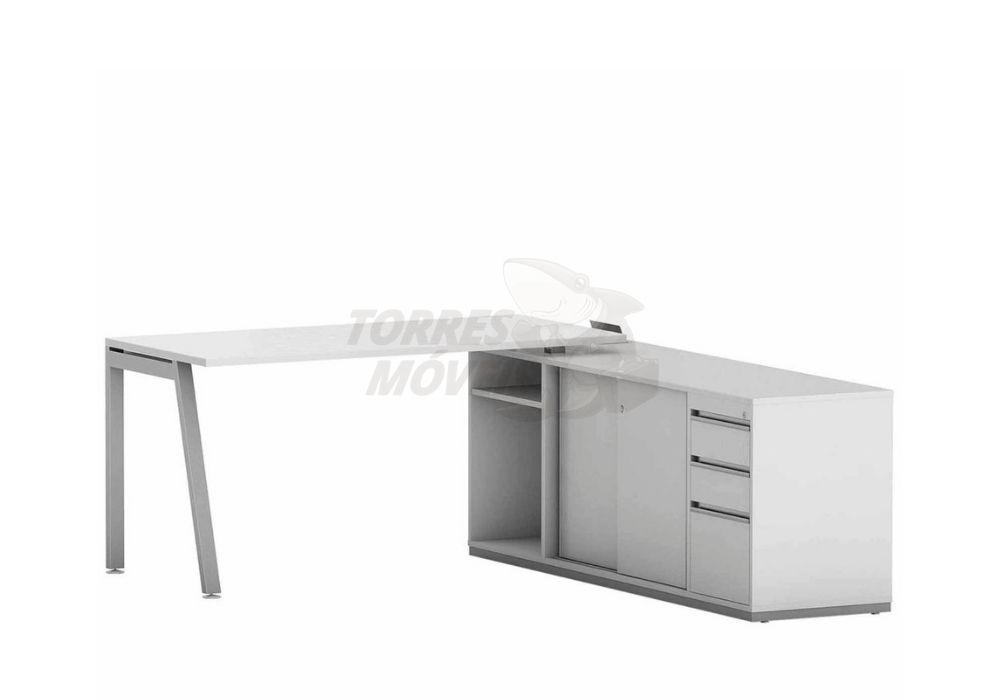 Mesa reta com armário auxiliar, gavetas, portas e nicho - Torres Laus